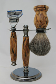 Brush, Razor & Stand Stabilized Spalted Tamarind gm6