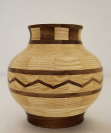 Southwestern Style Segmented Walnut & Whit Ash Vessel # 216