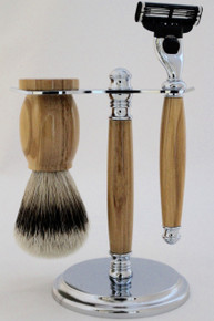 Razor & Brush Shaving Set Olivewood c