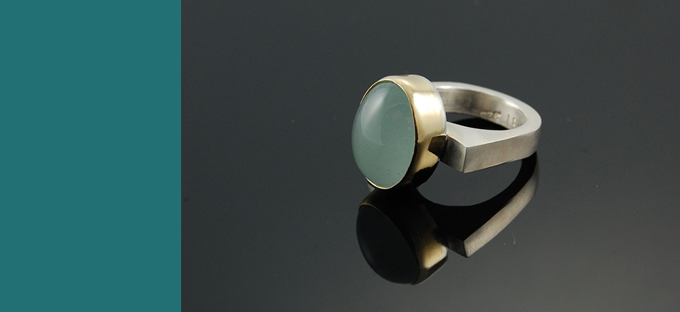 aquamarine in silver and gold