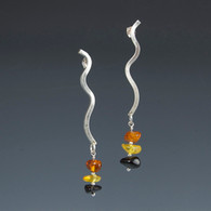 """Curves"" Silver & Amber Earrings"