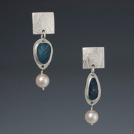 Opal & Pearl Silver Earrings