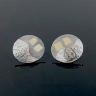 Oxidized Silver Discs with Keum Boo