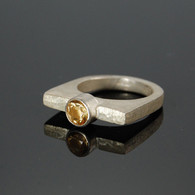 Citrine on Cast Silver RIng