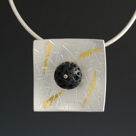 Lava Rock Pendant in Silver with Keum Boo