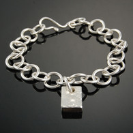 Linked Silver Bracelet with Recycled Silver Ingot