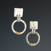 Hammered Silver Earrings with Two-Tone Circle (short)
