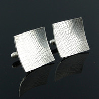 Square Textured Silver Cufflinks