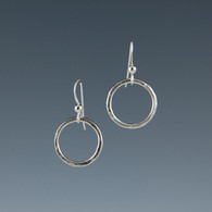 Hammered Silver Circle Earrings
