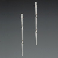 Articulated Triple-Bar Silver Earrings