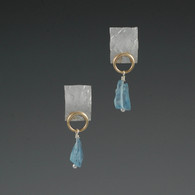 Aquamarine Drop Earrings in Silver & 14kt Gold