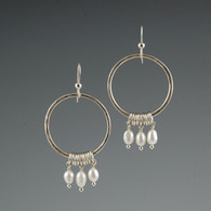 Hammered Silver Circle with Triple Freshwater Pearl Drops