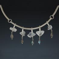 Articulated Silver Collar with Quartz & Labradorite Drops