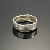 """Furrows"" Narrow Silver Band"