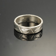 Chisel Cut Silver Band, Narrow