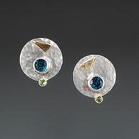 Blue Topaz and Peridot Earrings