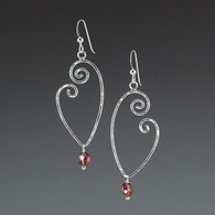 sterling silver heart earrings, with garnet
