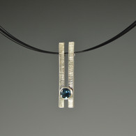 """""""Parallel"""" Silver Pendant with 6mm Natural Gemstone"""