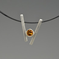 """V"" Silver Pendant with Gemstone"