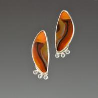 Brazilian Agate and White Topaz Earrings, Sterling Silver