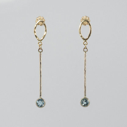 Aquamarine Earrings in 14kt White & Yellow Gold.