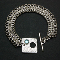 "Chainmail Silver Bracelet: ""King's Mail"" with Gemmed Clasp"
