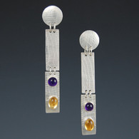 Amethyst & Citrine in Textured Silver