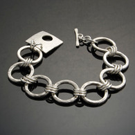 Classic Hammered Circles Bracelet, Silver