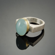 Aquamarine in 18kt Gold and Silver
