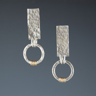 Hammered Silver Earrings with Two-Tone Circle (long)