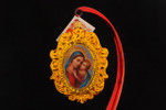 Engraved Gold-Tone Oval Frame | Picture of Madonna with Child