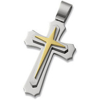 Stainless Steel Triple Layer Cross Pendant
