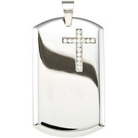 Stainless Steel Dog Tag with Cross