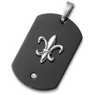 Stainless Steel Fleur-de-Lis Dog Tag with Diamond