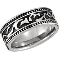 Cobalt Ring with Tribal Design