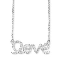 "Sterling Silver ""Love"" Script Necklace"