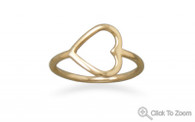 Open Your Heart 14 Karat Gold Plated Sterling Silver Ring