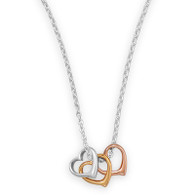 "16""+2"" Tri Tone Heart Necklace"