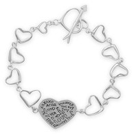 "7.5"" Heart Link Message Bracelet"