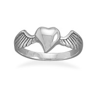 Sterling Silver Heart with Wings Rings