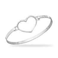 Polished Cut Out Heart Bangle Bracelet