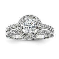 14K White Gold Diamond Engagement Ring.
