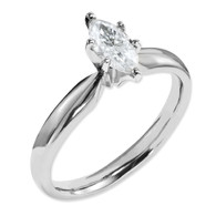 14k White Gold Moissanite 12x6mm Marquise Solitaire Ring