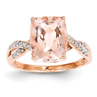 14k Rose Gold Diamond and Morganite Rectangle Ring