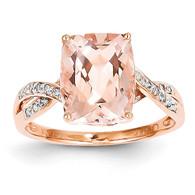 14k Rose Gold Diamond and Morganite Rectangle Ring