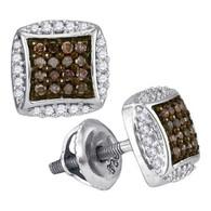 0.30CTW COGNAC DIAMOND MICRO-PAVE EARRING