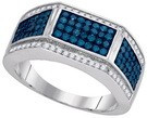 1.00CTW BLUE DIAMOND FASHION MENS RING