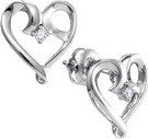 0.05CTW DIAMOND HEART EARRINGS