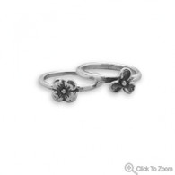 Oxidized Two Flower Ring Set