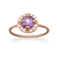 14 Karat Rose Gold Plated Purple CZ Ring
